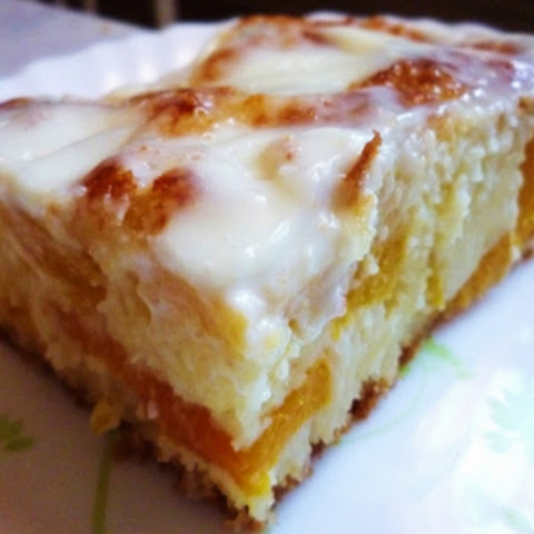 Homemade Cake With Sour Cream With Peaches