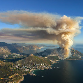 Cape Volcano by Anthony Allen - Travel Locations Landmarks ( hout bay, forest fire, fynbos, atlantic ocean, cape peninsula, controlled burn, alien vegetation, smoke, air pollution, llandudno )