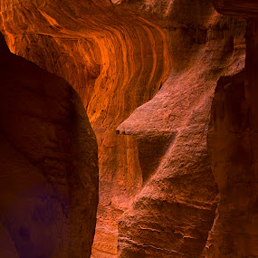 Petra Canyon by Dustin Penman - Landscapes Caves & Formations ( slot canyon, scale, jordan, sandstone, penman, petra )