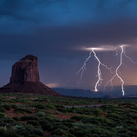 Monument Valley Lightning by Jeff Fahrenbruch - Landscapes Mountains & Hills ( navajo, lightning, sunset, arizona, monument valley navajo tribal park )