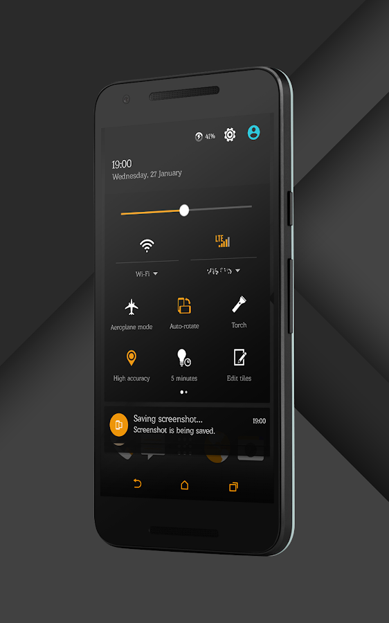 Sense Black/Orange cm13 theme Screenshot 1