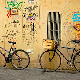 Due Biciclette by Art Blum - Transportation Bicycles ( two, florence, tuscany, graffiti, italy, wall, bicycle )