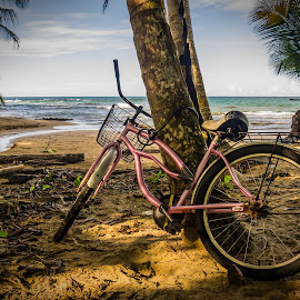 Beach Parking by Laura Kenny - Landscapes Travel ( vacation, bike, costa rica, sea, ocean, beach, bicycle )