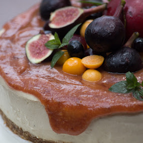 Cheese Cake by Susan Van Wyk - Food & Drink Cooking & Baking ( cake, fruit, mint., cheese, figs )