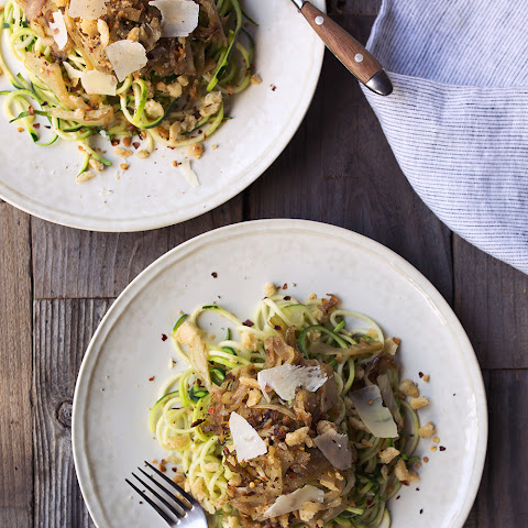 Zucchini Noodles with Caramelized Fennel and Spicy Sourdough Breadcrumbs {gluten-free and vegan}