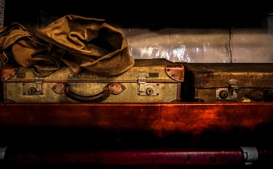 Kit bag and suitcase...HMS Cavalier by Katherine Rynor - Uncategorized All Uncategorized ( old, kit bag, suitcase, vintage, boat )