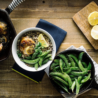 Oven-Roasted Rosemary Chicken Thighs, Sugar Snap Peas & Quinoa