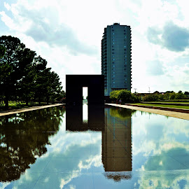 reflection by Clarence Hagler - City,  Street & Park  Historic Districts ( reflection, oklahoma memorial, oklahoma city, oklahoma, reflecting pool )