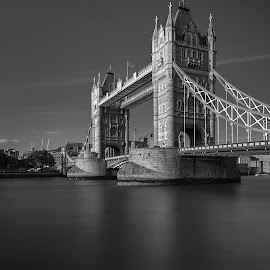LONDON TOWER BRIDGE by Selaru Ovidiu - Black & White Buildings & Architecture ( black and white, architecture, landscape )