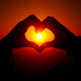 Lovely sunset by Nagaraja Adiga - People Body Parts ( love, orange, red, sunset, evening, black )