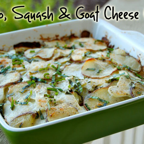 Potato, Squash and Goat Cheese Gratin