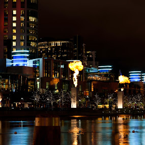 CROWN FLAMES by Adam Visscher - City,  Street & Park  Street Scenes ( building flames casino river melbourne, night, lights )