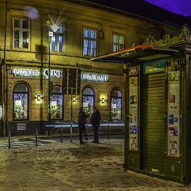 book store by George Nutulescu - City,  Street & Park  Night