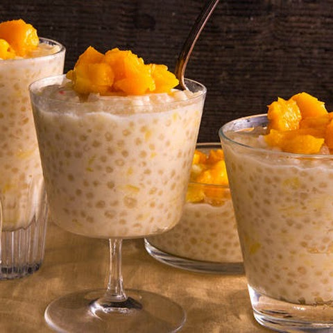 Slow Cooker Coconut Tapioca Pudding with Mango