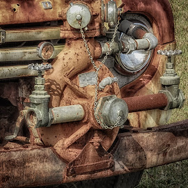 Rusty Truck Water Pump by Dave Walters - Artistic Objects Antiques ( rusty truck, artistic, transportation, rust, sony hx400v, antique fire truck, water pump )