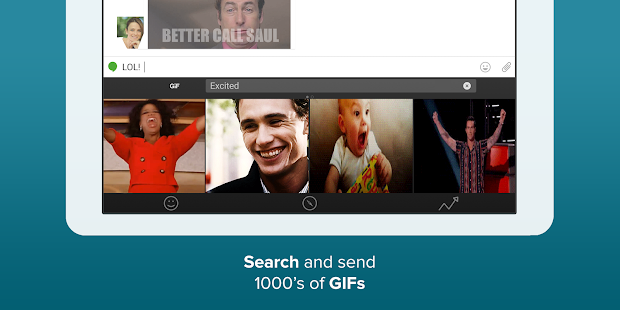 Fleksy - Chat with gifs/stickers, web search & fun Screenshot