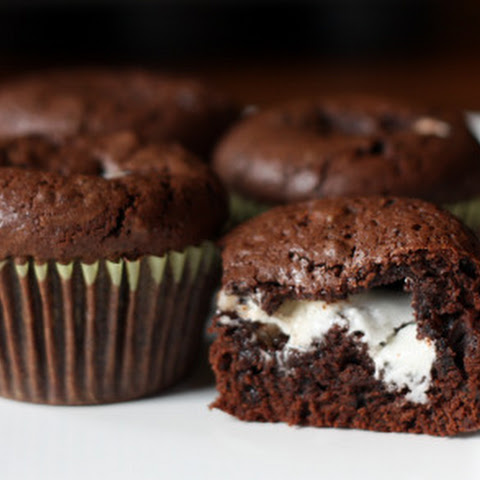 Mint Filled Brownie Cupcakes