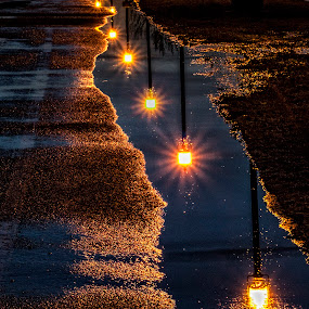 night lights by Marianna Armata - Abstract Fine Art ( reflection, park, path, star, burst, night, puddle, marianna armata, thaw, light, spring, lane )