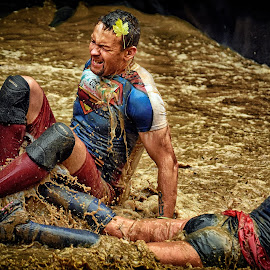 Striong, Super, Man ? by Marco Bertamé - Sports & Fitness Other Sports ( water, 2157, lying, splatter, splash, differdange, superman, 2015, number, crying, waterdrops, soup, luxembourg, red, mud, sitting, blue, strong, drops, dirty, brwob, strongmanrun, man,  )
