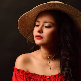 Calm by Avi Dey - People Portraits of Women ( #womanwithhat, #portraitofwoman, #portraitphotography, #wearingahat, #hat, #womanportrait,  )