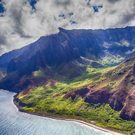 Na Pali Coast from the Air by Brandon Beadel - Landscapes Travel ( helicopter, kauai, mountains, na pali, na pali coast, wonder, aerial photography, aerial, air, ocean, beach, coast, hawaii )