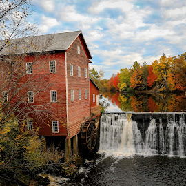 Dells Mill Pond Augusta, Wisconsin by William Boyea - Buildings & Architecture Public & Historical ( clouds, water, mill, tree, autumn, waterfall, fall, pond )