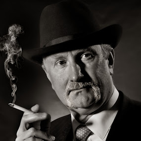 Attempt at early Hollywood style shot by Steve McNiven-Photography - People Portraits of Men ( gent, smoking, leeds photographer, hollywood, smoker, moustache, erol flynn )