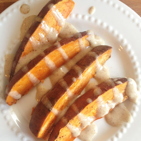 Baked Sweet Potato Wedges with Brown Butter Marshmallow Dip