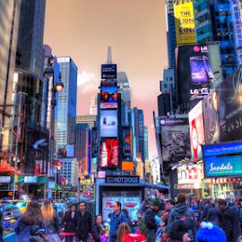 Big Apple by Ferdinand Ludo - City,  Street & Park  Street Scenes ( the big apple, downtown manhattan, twilight, new york city )