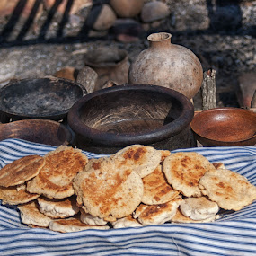 Corncakes by Cathleen Steele - Food & Drink Cooking & Baking ( towel, corncakes, background, cookware, still life, cultural heritage )