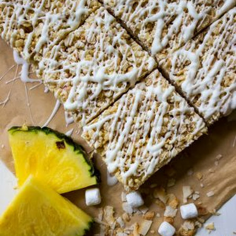 Tropical Rice Krispie Treats with Toasted Coconut, Pineapple and White Chocolate