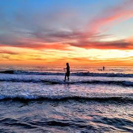 rydin a wave at sunset  by Jeffrey Lee - Landscapes Sunsets & Sunrises ( rydin a wave at sunset )