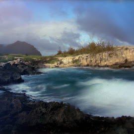 by Kelley Hurwitz Ahr - Digital Art Places ( hawaii night tour, kauai, beach, hawaii )