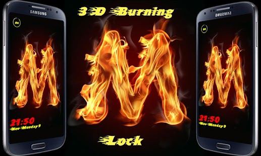 Burning Letter M Lock - screenshot