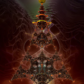 An Alien Christmas Tree by Rick Eskridge - Illustration Sci Fi & Fantasy ( fantasy, jwildfire, mb3d, fractal, twisted brush )