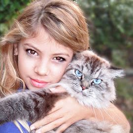 by Danielle Calkins - Animals - Cats Portraits ( child, cat, long haired cat, girl, pet, candid,  )