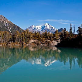 Redoubt Reflection by Michael Waller - Landscapes Waterscapes ( mountains, nature, alaska, reflections, landscape,  )