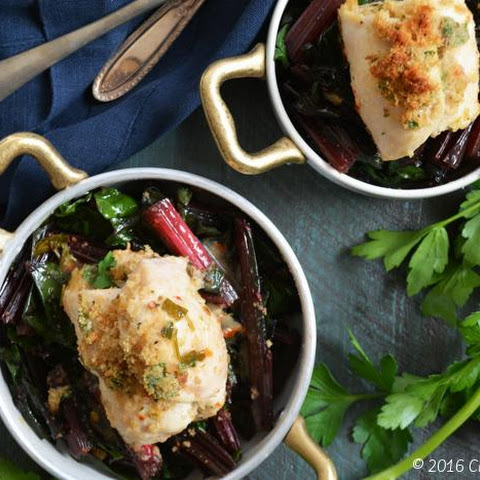 Chicken Breast in Lemon-Herb Sauce with Roasted Swiss Chard