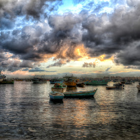 Alexandria Harbor by Tawfik Dajani - Landscapes Cloud Formations ( pwcfoulweather-dq, water, clouds, harbor, nature, boats, weather, storm, egypt, alexandria )