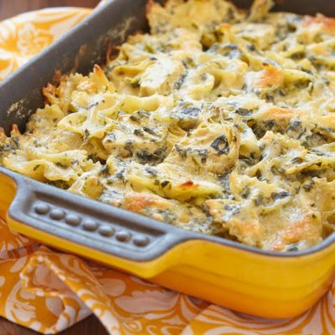 Cheesy Spinach and Bowtie Pasta Casserole