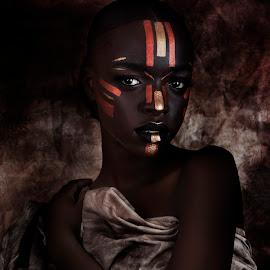 African Princess by Nigel Hawkins - People Portraits of Women ( face, model, princess, african, woman, dark, tribal, portrait )