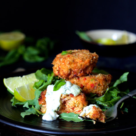 Thai Salmon Cakes with Basil Lime Mayonnaise