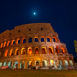 Colosseum in moonlit night by Krishanu Roy - Buildings & Architecture Statues & Monuments
