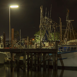 Trawlers by Night by Ian McCracken - Novices Only Street & Candid ( riverside, low light, boats boating, night shot, river )