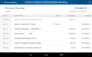 Screenshot of Citizens National Bank Mobile