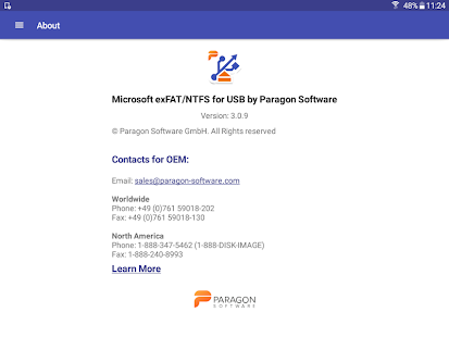 Microsoft exFAT/NTFS for USB by Paragon Software Screenshot