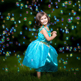 Bubble Princess by Mike DeMicco - Babies & Children Child Portraits ( child, bubble, princess, sweet, girl, dress, magical, bubbles, pretty, twirl, cinderella )