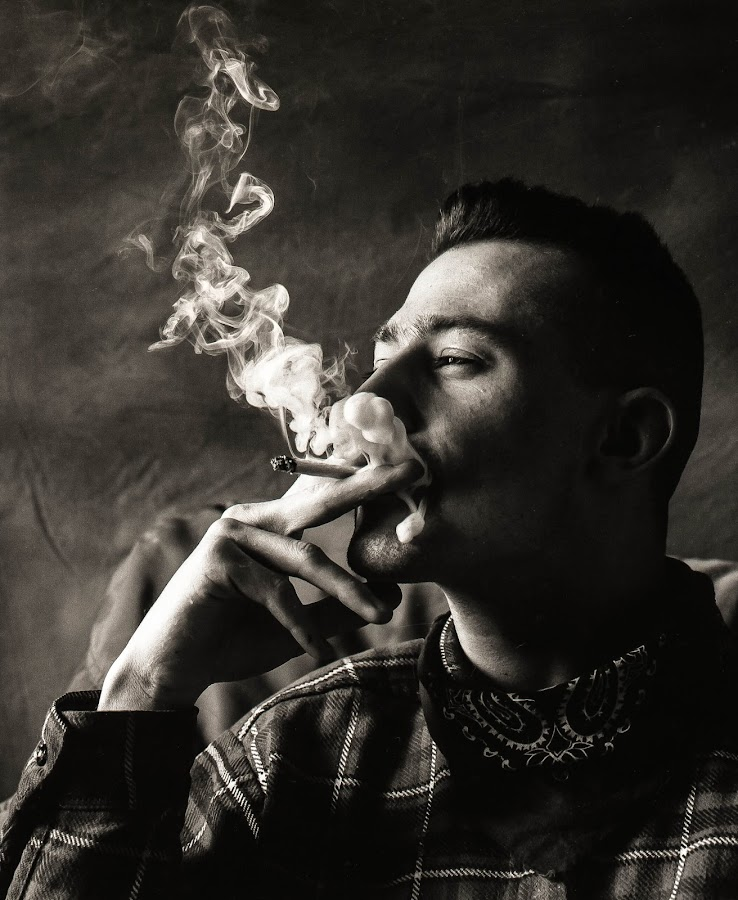 Chilling Out by Phil Clarkstone - People Portraits of Men ( studio, smoking, rockabilly, relaxing, portrait, smoke )