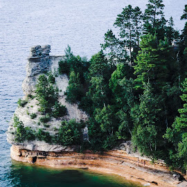Pictured Rocks Cliffs by Leah Slosberg - Landscapes Caves & Formations
