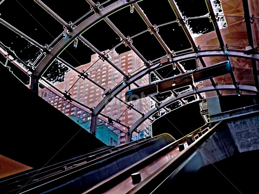 subway view by Edward Gold - Digital Art Things ( skylines escalator, subway, blue, buildings, black, brown,  )
